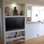 Optimisation espace cuisine-salon , création meuble bibliothèque